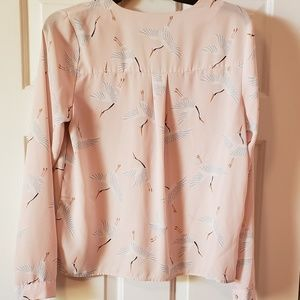 Forever 21 Tops - Forever 21 Contemporary blouse pink with cranes M